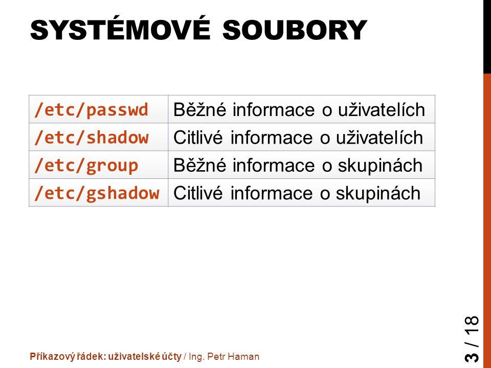 SYSTÉMOVÉ SOUBORY Příkazový řádek: uživatelské účty / Ing.