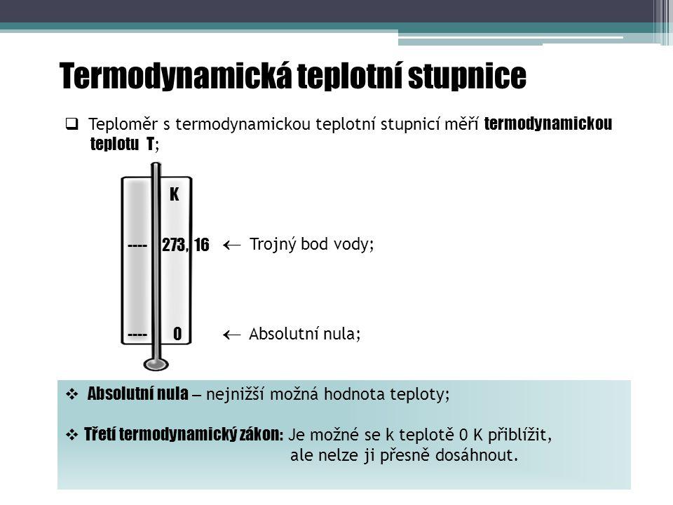 Termodynamická teplotní stupnice  Teploměr s termodynamickou teplotní stupnicí měří termodynamickou teplotu T ;  Trojný bod vody;  Absolutní nula;