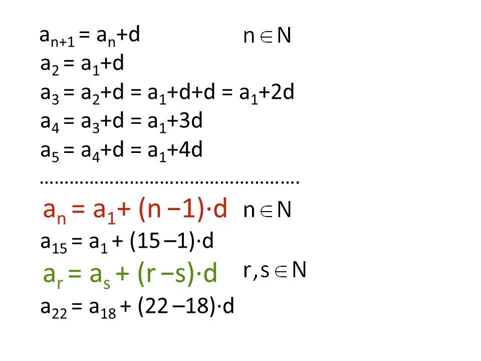 a n+1 = a n +d a 2 = a 1 +d a 3 = a 2 +d = a 1 +d+d = a 1 +2d a 4 = a 3 +d = a 1 +3d a 5 = a 4 +d = a 1 +4d ……………………………………………. a n = a 1 + (n −1)·d a