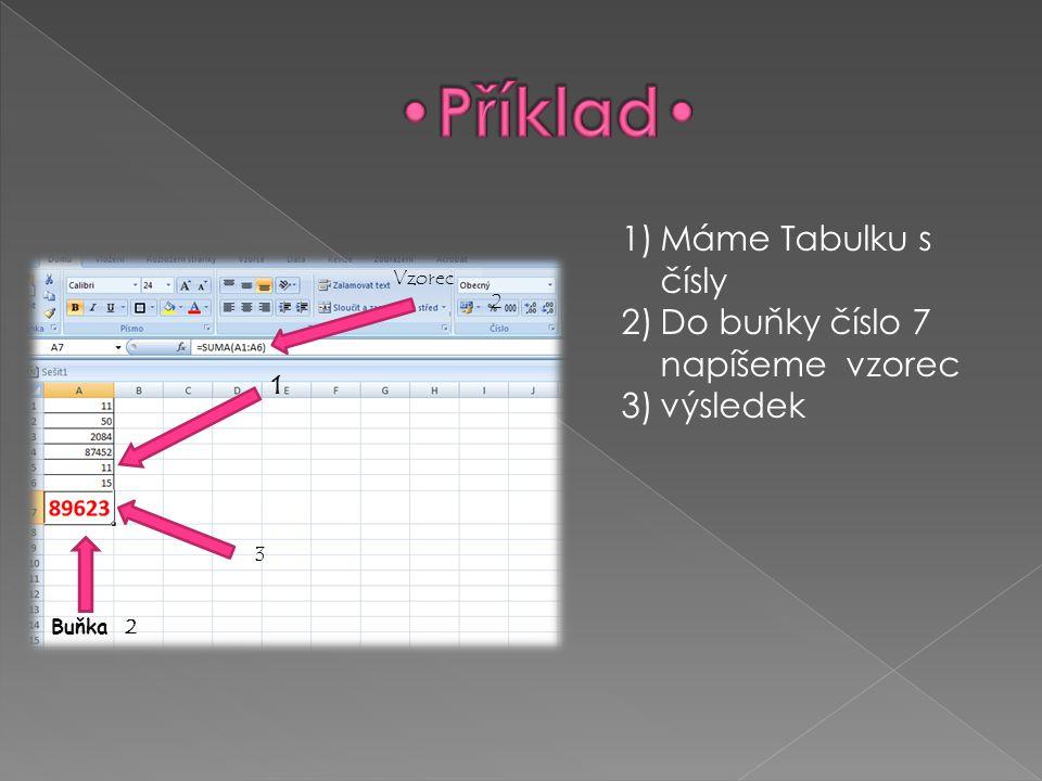 1)Máme Tabulku s čísly 2)Do buňky číslo 7 napíšeme vzorec 3)výsledek 1 Vzorec 2 Buňka 2 3