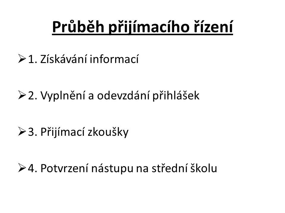 Průběh přijímacího řízení  1.Získávání informací  2.