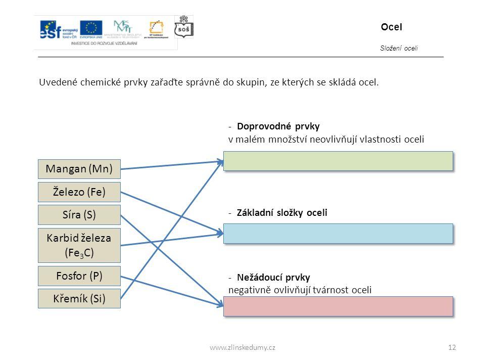 www.zlinskedumy.cz Uvedené chemické prvky zařaďte správně do skupin, ze kterých se skládá ocel. 12 - Doprovodné prvky v malém množství neovlivňují vla
