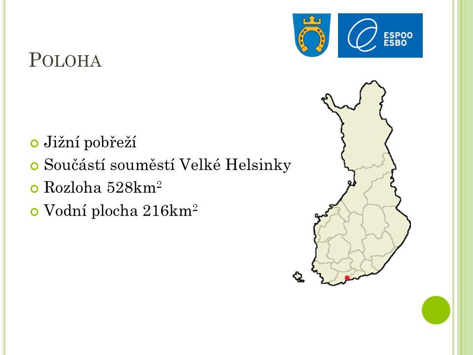 P OLOHA Jižní pobřeží Součástí souměstí Velké Helsinky Rozloha 528km 2 Vodní plocha 216km 2