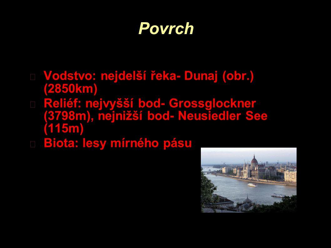 Povrch Vodstvo: nejdelší řeka- Dunaj (obr.) (2850km) Reliéf: nejvyšší bod- Grossglockner (3798m), nejnižší bod- Neusiedler See (115m) Biota: lesy mírn