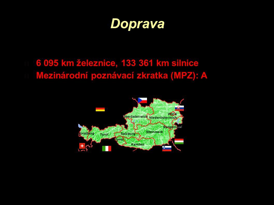 Doprava 6 095 km železnice, 133 361 km silnice Mezinárodní poznávací zkratka (MPZ): A