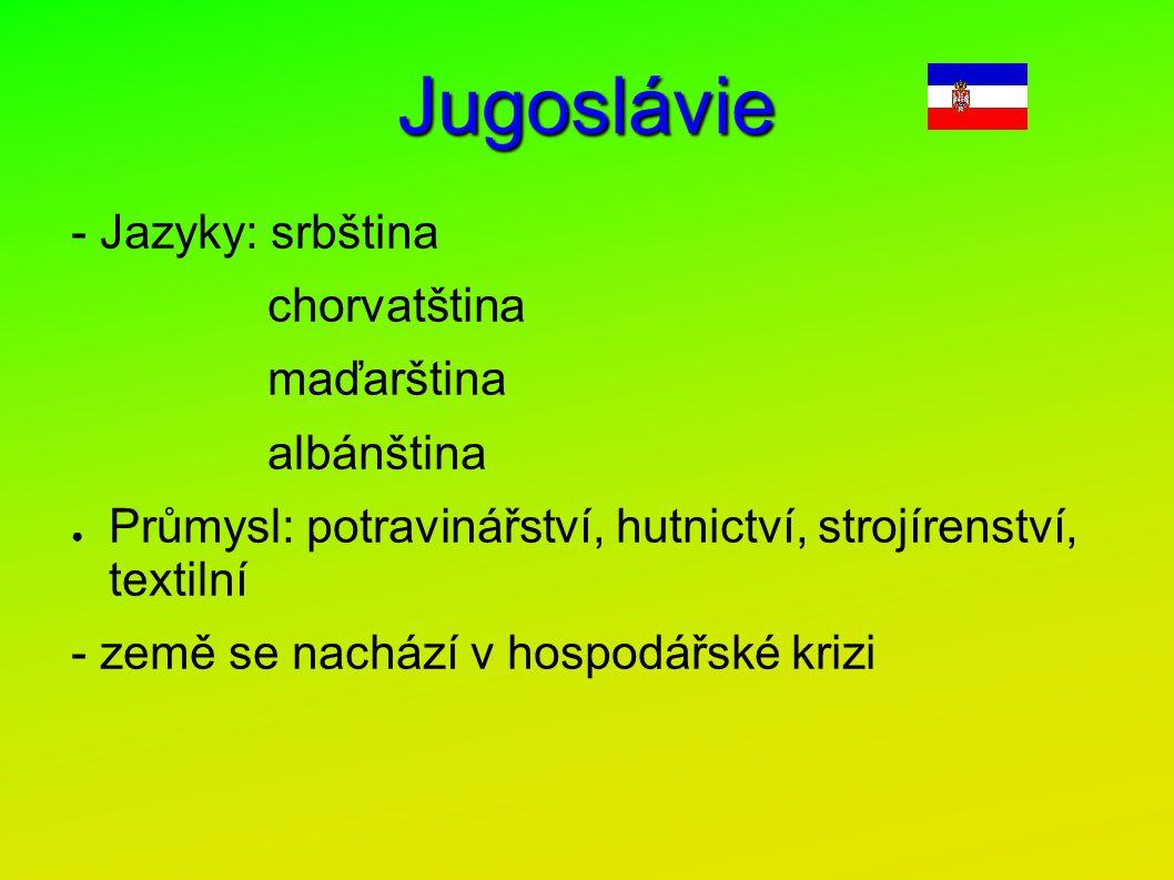 Jugoslávie - Jazyky: srbština chorvatština maďarština albánština ● Průmysl: potravinářství, hutnictví, strojírenství, textilní - země se nachází v hos