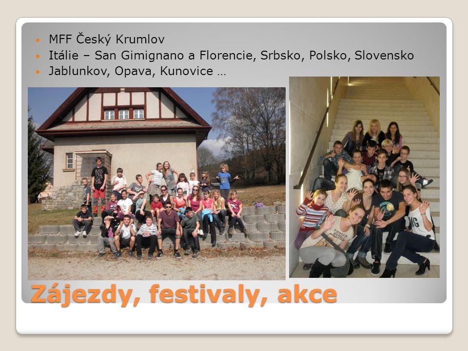 Zájezdy, festivaly, akce MFF Český Krumlov Itálie – San Gimignano a Florencie, Srbsko, Polsko, Slovensko Jablunkov, Opava, Kunovice …