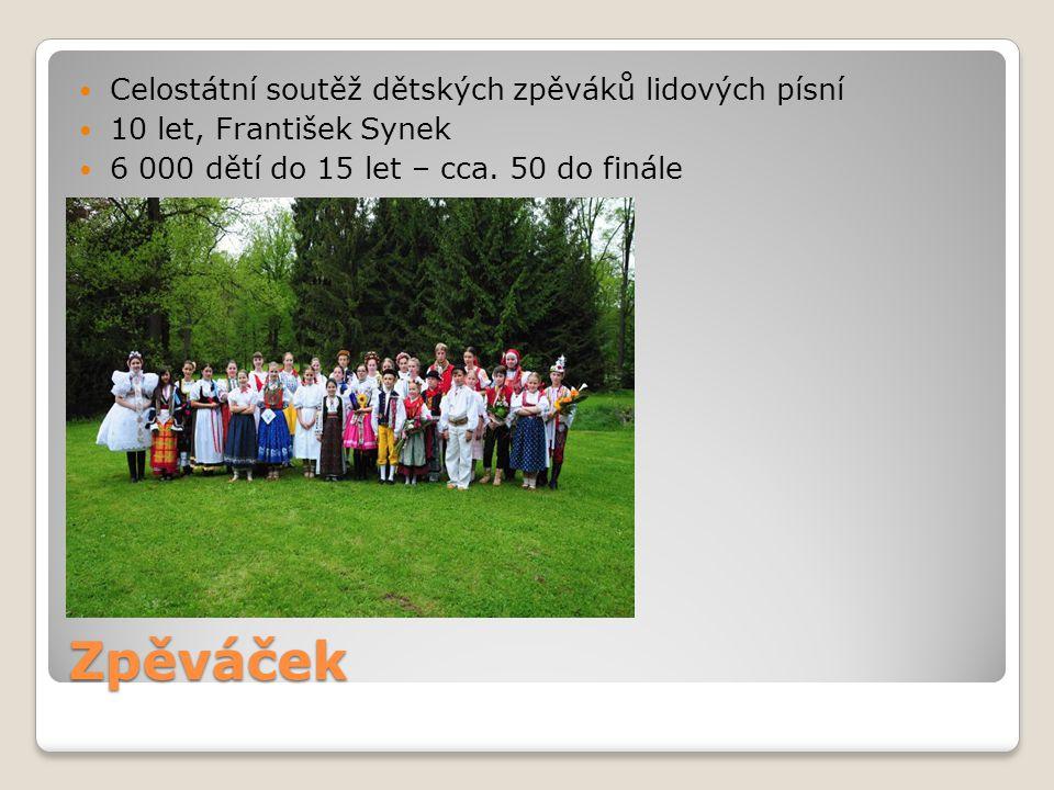 Zpěváček Celostátní soutěž dětských zpěváků lidových písní 10 let, František Synek 6 000 dětí do 15 let – cca. 50 do finále