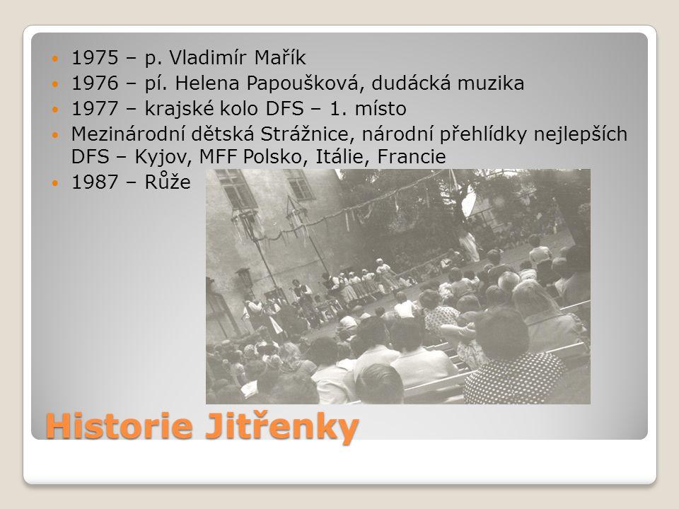 Historie Jitřenky 1975 – p. Vladimír Mařík 1976 – pí. Helena Papoušková, dudácká muzika 1977 – krajské kolo DFS – 1. místo Mezinárodní dětská Strážnic