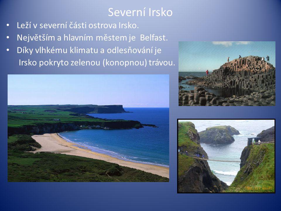 Severní Irsko Leží v severní části ostrova Irsko. Největším a hlavním městem je Belfast. Díky vlhkému klimatu a odlesňování je Irsko pokryto zelenou (