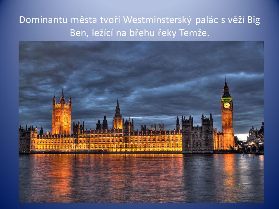 """Další dominantou Londýna je obří kolo """"London Eye , které zde bylo postaveno u příležitosti příchodu nového milénia."""