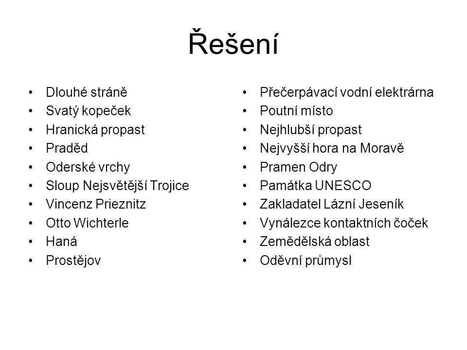 Zdroje http://cs.wikipedia.org/wiki/Prad%C4%9Bd http://cs.wikipedia.org/wiki/Sloup_Nejsv%C4%9Bt%C4%9Bj%C5%A1%C3 %AD_Trojice_(Olomouc)http://cs.wikipedia.org/wiki/Sloup_Nejsv%C4%9Bt%C4%9Bj%C5%A1%C3 %AD_Trojice_(Olomouc http://cs.wikipedia.org/wiki/Svat%C3%BD_Kope%C4%8Dek_(Olomouc)http://cs.wikipedia.org/wiki/Svat%C3%BD_Kope%C4%8Dek_(Olomouc http://cs.wikipedia.org/wiki/Hranick%C3%A1_propast http://cs.wikipedia.org/wiki/Velk%C3%A9_Losiny http://cs.wikipedia.org/wiki/L%C3%A1zn%C4%9B_Jesen%C3%ADk http://www.hajduch.net/cesko/olomoucky-kraj