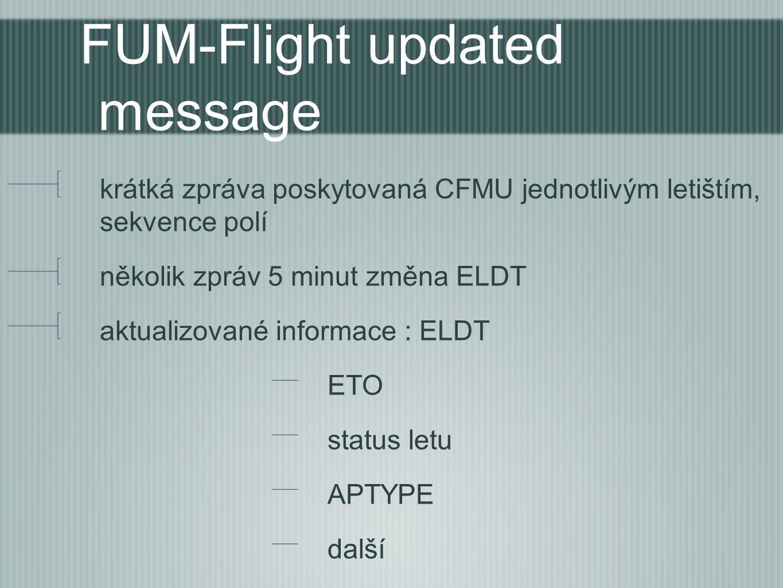 FUM-Flight updated message krátká zpráva poskytovaná CFMU jednotlivým letištím, sekvence polí několik zpráv 5 minut změna ELDT aktualizované informace : ELDT ETO status letu APTYPE další