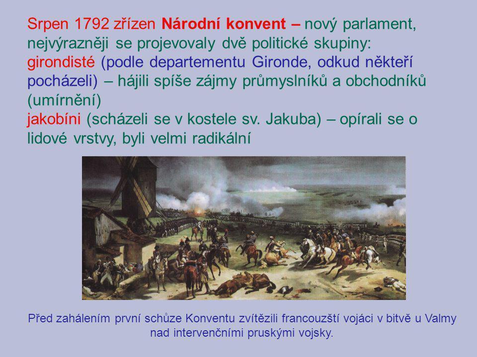 Srpen 1792 zřízen Národní konvent – nový parlament, nejvýrazněji se projevovaly dvě politické skupiny: girondisté (podle departementu Gironde, odkud n