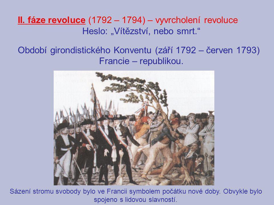 """II. fáze revoluce (1792 – 1794) – vyvrcholení revoluce Heslo: """"Vítězství, nebo smrt."""" Období girondistického Konventu (září 1792 – červen 1793) Franci"""