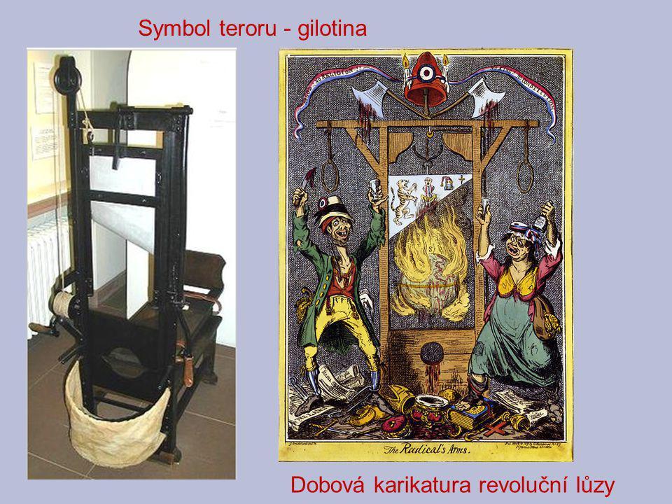 Symbol teroru - gilotina Dobová karikatura revoluční lůzy