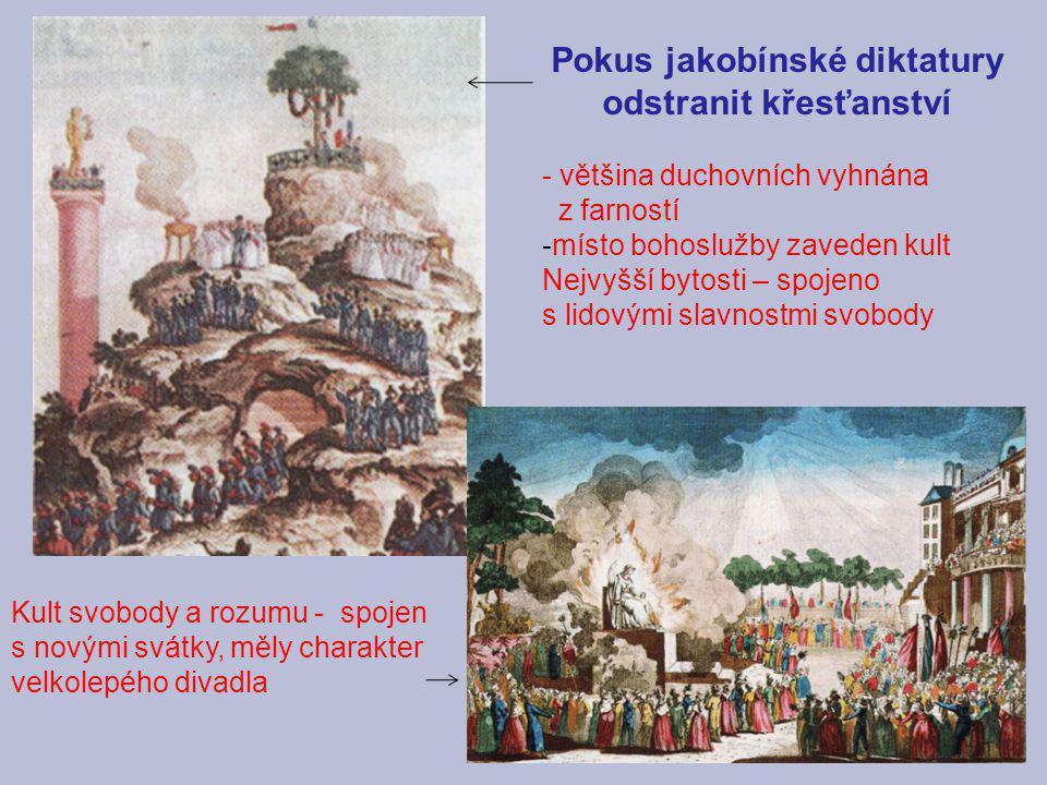Pokus jakobínské diktatury odstranit křesťanství - většina duchovních vyhnána z farností -místo bohoslužby zaveden kult Nejvyšší bytosti – spojeno s l