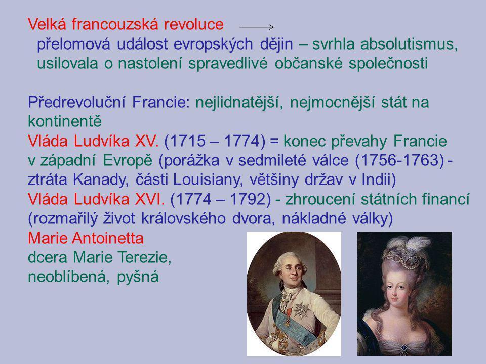 Velká francouzská revoluce přelomová událost evropských dějin – svrhla absolutismus, usilovala o nastolení spravedlivé občanské společnosti Předrevolu