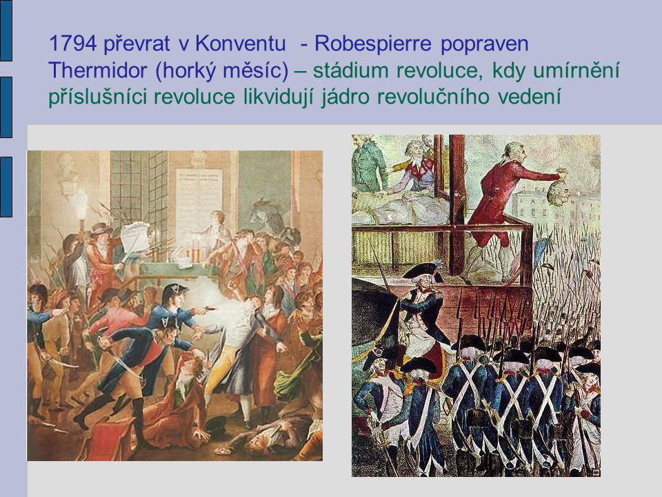 1794 převrat v Konventu - Robespierre popraven Thermidor (horký měsíc) – stádium revoluce, kdy umírnění příslušníci revoluce likvidují jádro revoluční
