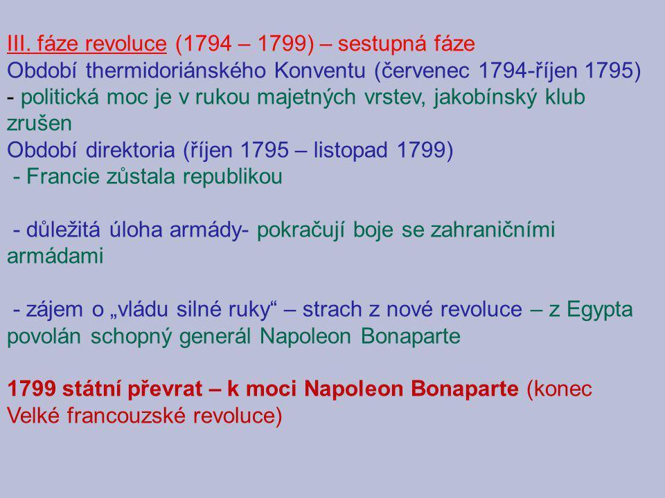 III. fáze revoluce (1794 – 1799) – sestupná fáze Období thermidoriánského Konventu (červenec 1794-říjen 1795) - politická moc je v rukou majetných vrs
