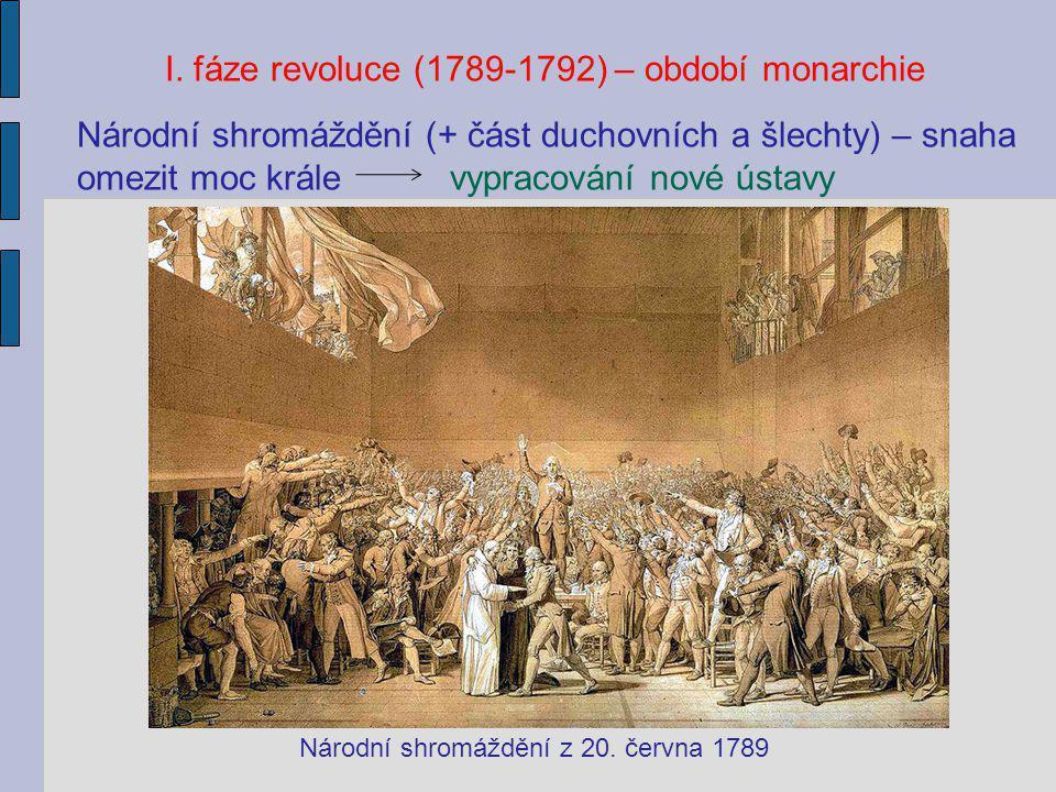 I. fáze revoluce (1789-1792) – období monarchie Národní shromáždění (+ část duchovních a šlechty) – snaha omezit moc krále vypracování nové ústavy Nár