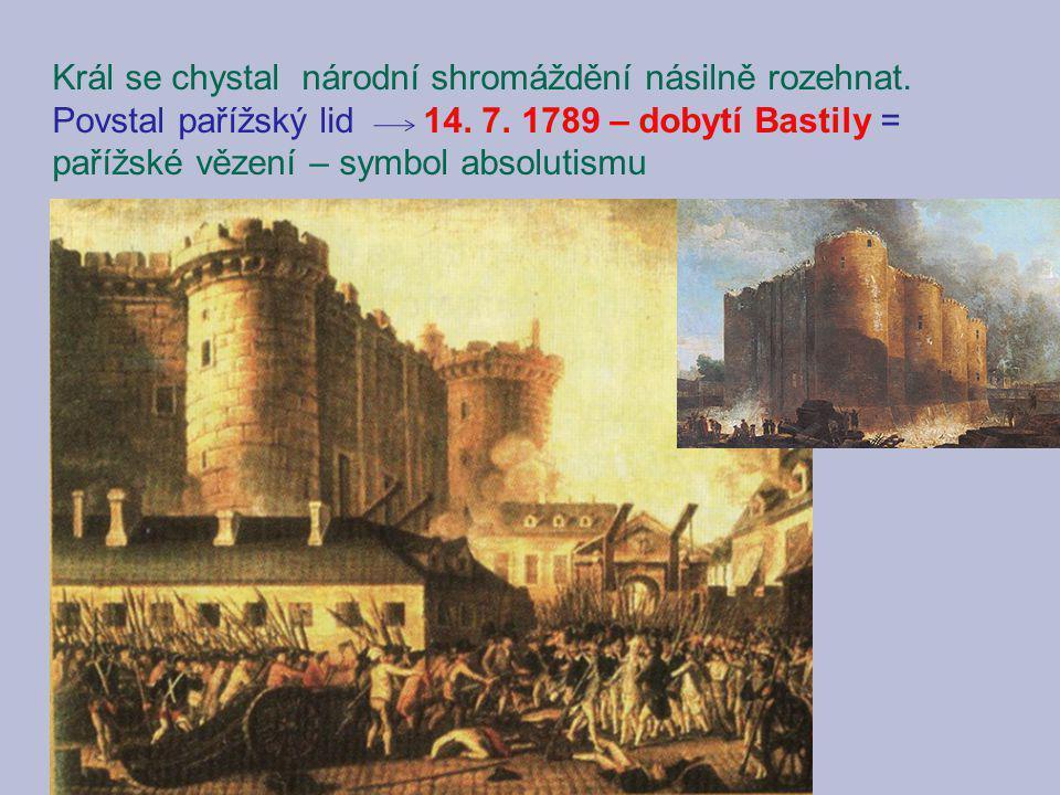 Král se chystal národní shromáždění násilně rozehnat. Povstal pařížský lid 14. 7. 1789 – dobytí Bastily = pařížské vězení – symbol absolutismu