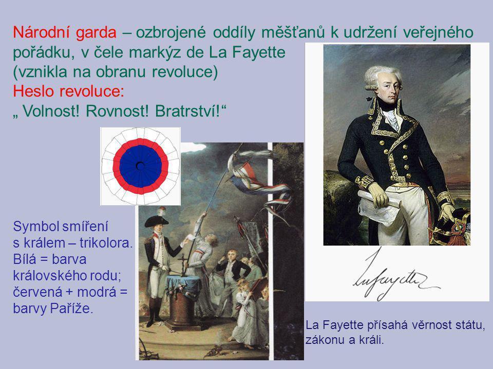 La Fayette přísahá věrnost státu, zákonu a králi. Národní garda – ozbrojené oddíly měšťanů k udržení veřejného pořádku, v čele markýz de La Fayette (v