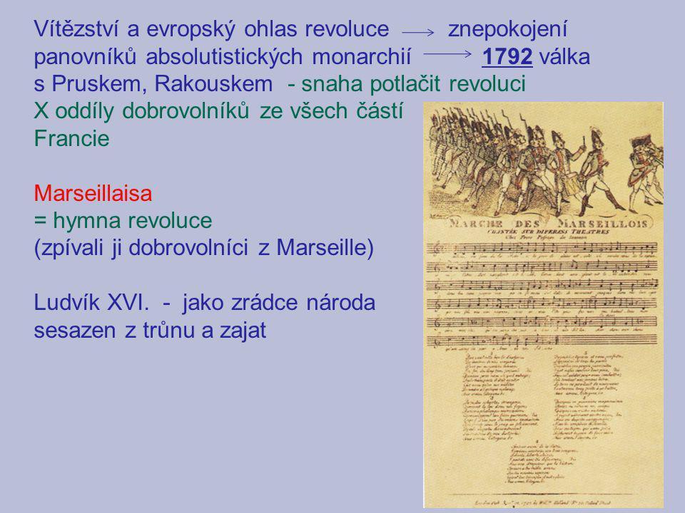 Vítězství a evropský ohlas revoluce znepokojení panovníků absolutistických monarchií 1792 válka s Pruskem, Rakouskem - snaha potlačit revoluci X oddíl