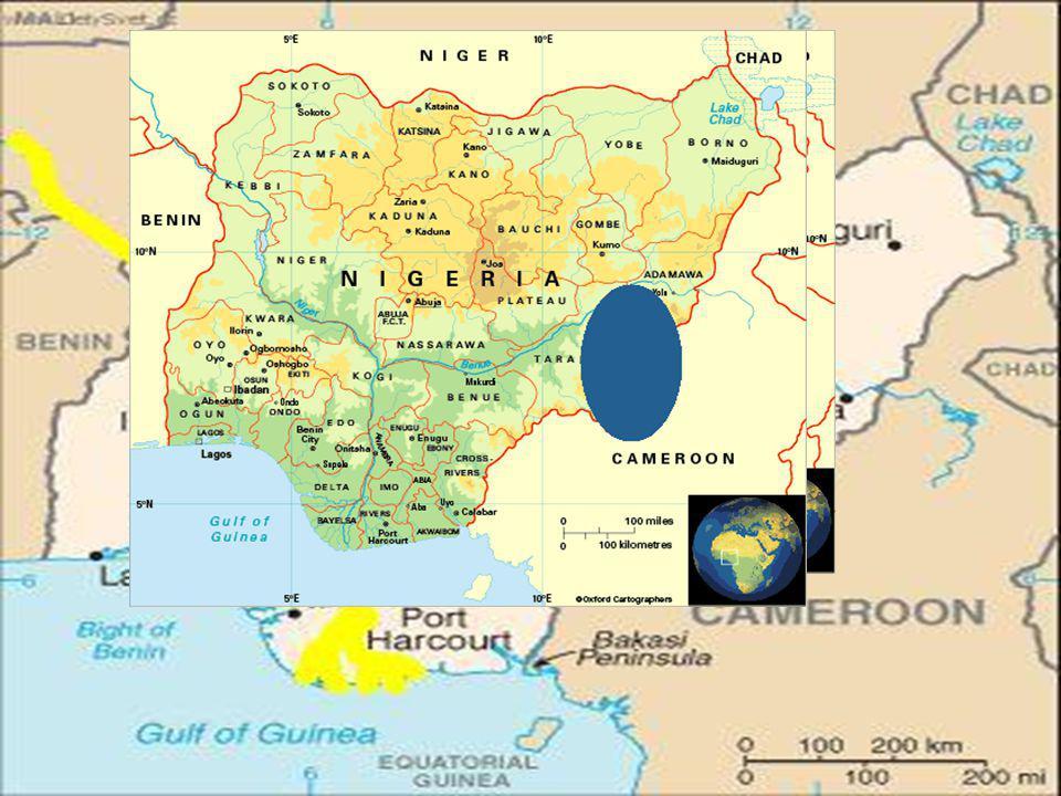 Moře: Atlantský oceán Moře: Atlantský oceán Reliéf: střed…náhorní plošina Jos Reliéf: střed…náhorní plošina Jos JV……..náplavová nížina JV……..náplavová nížina V……….Adamauské pohoří V……….Adamauské pohoří Vodstvo: nejdelší řeka - Niger (4 160 km) Vodstvo: nejdelší řeka - Niger (4 160 km) Vodní plocha: 13 000 km² Vodní plocha: 13 000 km² Úhrn srážek: S…..<800 mm Úhrn srážek: S…..<800 mm JZ….1850 mm JZ….1850 mm JV….3750 mm JV….3750 mm