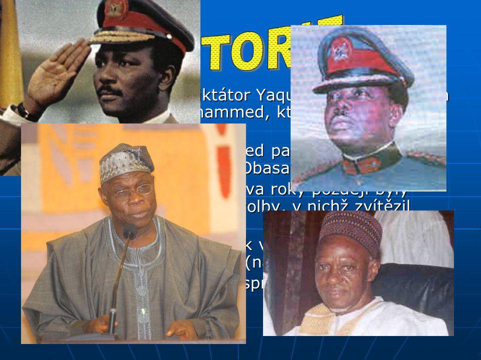 1975: odstraněn diktátor Yaqubu Gowon a zvolen Murtala Ramat Mohammed, který slíbil návrat k civilní vládě 1975: odstraněn diktátor Yaqubu Gowon a zvolen Murtala Ramat Mohammed, který slíbil návrat k civilní vládě Murtala Ramat Mohammed padl za oběť atentátu a nahradil ho Olusegun Obasanjo Murtala Ramat Mohammed padl za oběť atentátu a nahradil ho Olusegun Obasanjo 1977: nová ústava a o dva roky později byly uspořádány všeobecné volby, v nichž zvítězil Shehu Shagari 1977: nová ústava a o dva roky později byly uspořádány všeobecné volby, v nichž zvítězil Shehu Shagari 1983: Nigérie se vrátila k vojenské vládě po dalším ozbrojeném puči (násilné svržení vlády) 1983: Nigérie se vrátila k vojenské vládě po dalším ozbrojeném puči (násilné svržení vlády) Do roku 1993 pak zemi spravovala Vrchní vojenská rada Do roku 1993 pak zemi spravovala Vrchní vojenská rada