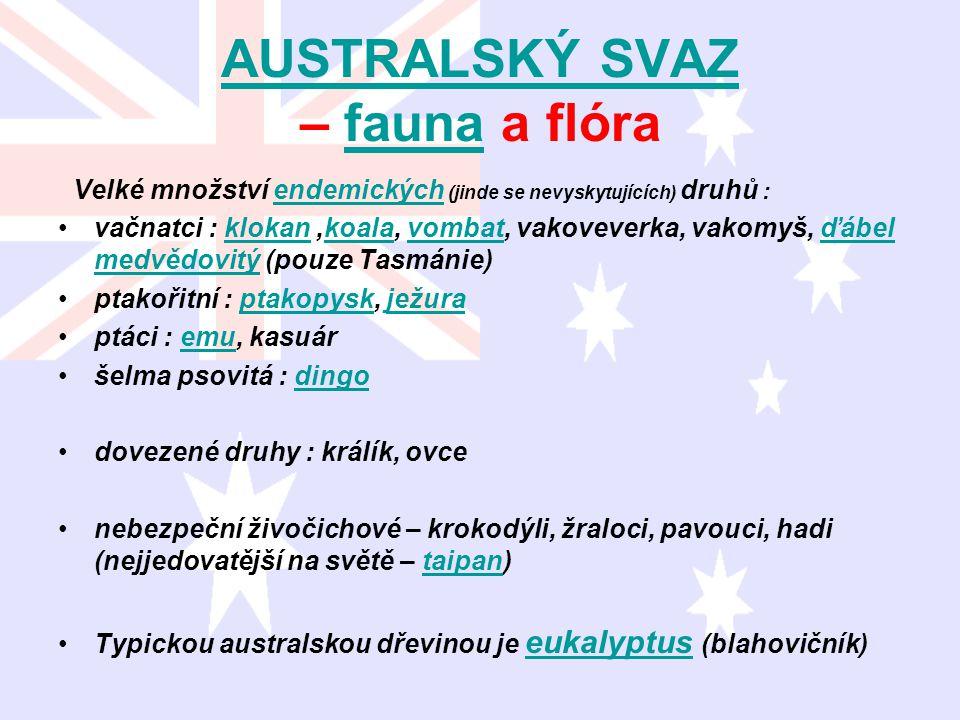 AUSTRALSKÝ SVAZ AUSTRALSKÝ SVAZ – fauna a flórafauna Velké množství endemických (jinde se nevyskytujících) druhů :endemických vačnatci : klokan,koala,