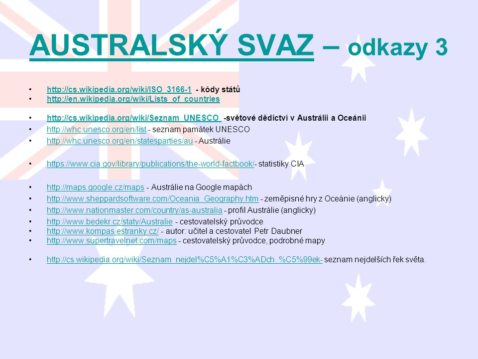 AUSTRALSKÝ SVAZAUSTRALSKÝ SVAZ – odkazy 3 http://cs.wikipedia.org/wiki/ISO_3166-1 - kódy státůhttp://cs.wikipedia.org/wiki/ISO_3166-1 http://en.wikipe
