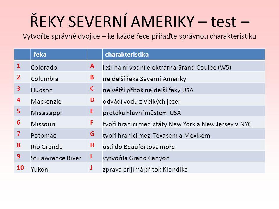 ŘEKY SEVERNÍ AMERIKY – test – Vytvořte správné dvojice – ke každé řece přiřaďte správnou charakteristiku řekacharakteristika 1 Colorado A leží na ní v