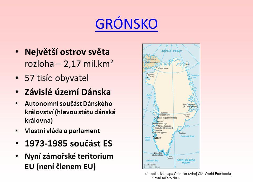GRÓNSKO Největší ostrov světa rozloha – 2,17 mil.km² 57 tisíc obyvatel Závislé území Dánska Autonomní součást Dánského království (hlavou státu dánská