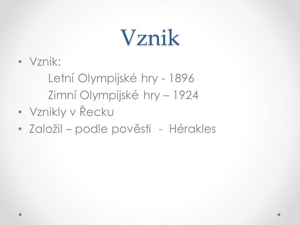 Vznik Vznik: Letní Olympijské hry - 1896 Zimní Olympijské hry – 1924 Vznikly v Řecku Založil – podle pověsti - Hérakles