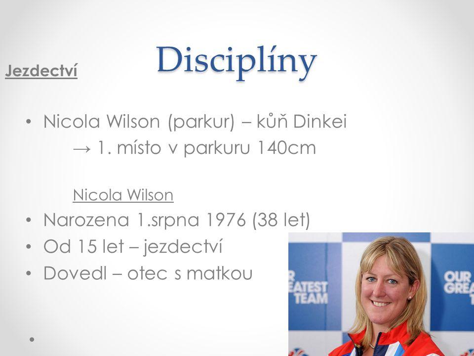 Disciplíny Nicola Wilson (parkur) – kůň Dinkei → 1. místo v parkuru 140cm Nicola Wilson Narozena 1.srpna 1976 (38 let) Od 15 let – jezdectví Dovedl –