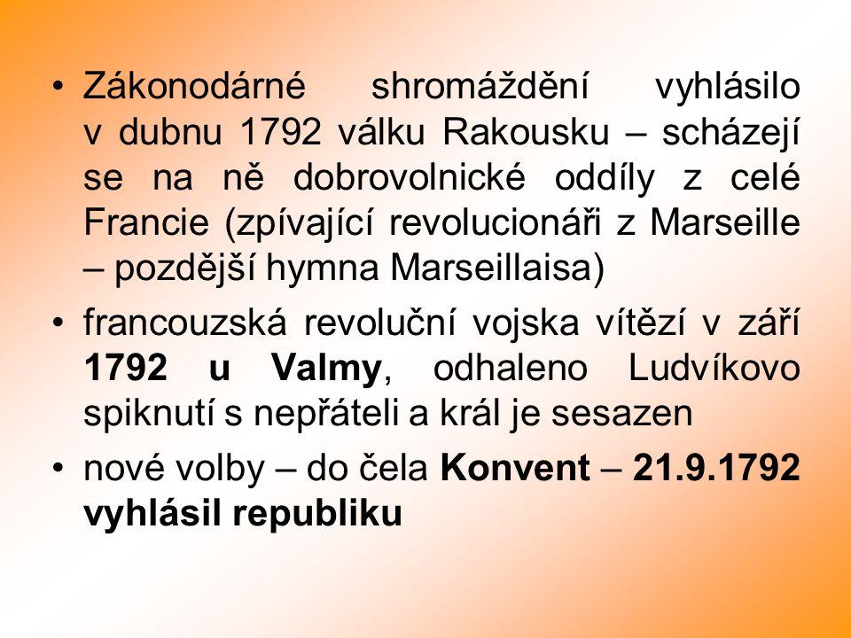 Zákonodárné shromáždění vyhlásilo v dubnu 1792 válku Rakousku – scházejí se na ně dobrovolnické oddíly z celé Francie (zpívající revolucionáři z Marse