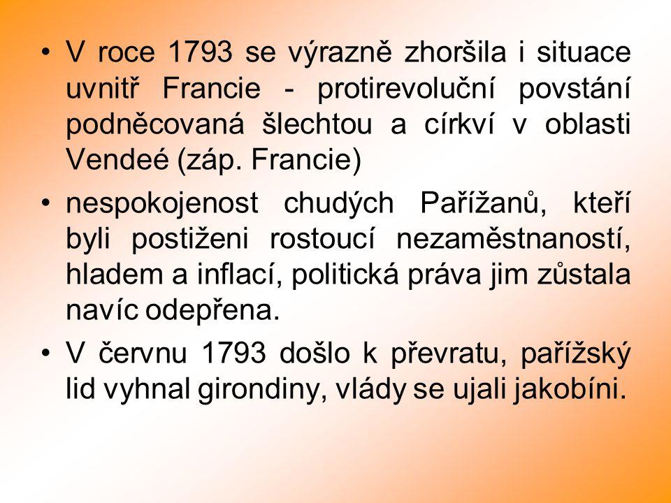 V roce 1793 se výrazně zhoršila i situace uvnitř Francie - protirevoluční povstání podněcovaná šlechtou a církví v oblasti Vendeé (záp. Francie) nespo