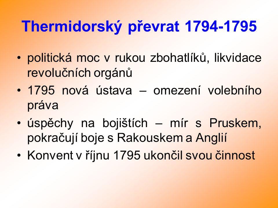 Thermidorský převrat 1794-1795 politická moc v rukou zbohatlíků, likvidace revolučních orgánů 1795 nová ústava – omezení volebního práva úspěchy na bo