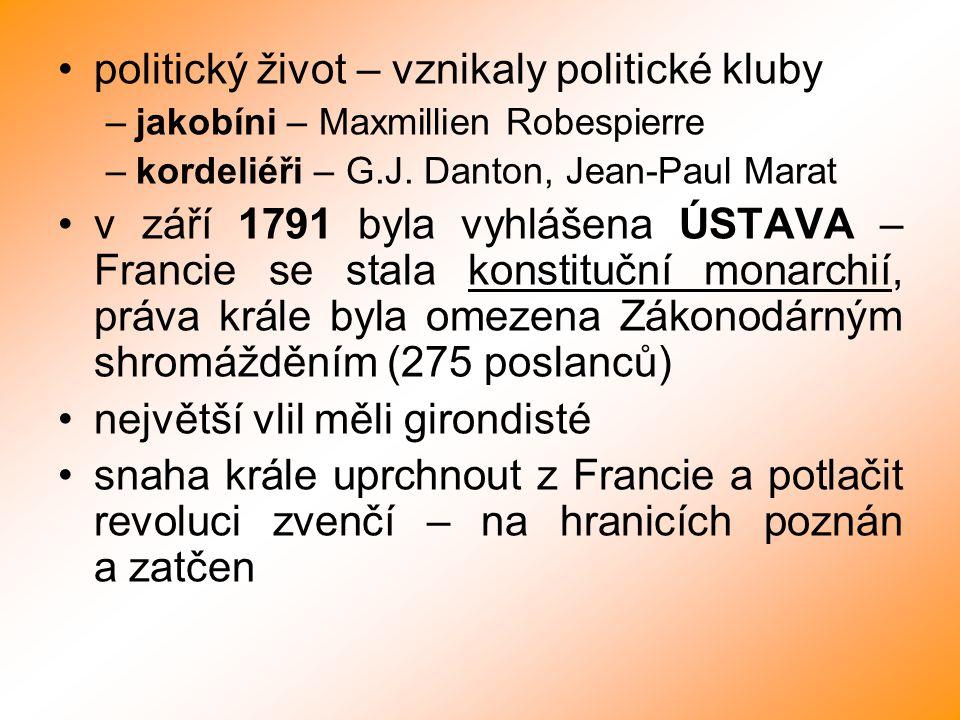 politický život – vznikaly politické kluby –jakobíni – Maxmillien Robespierre –kordeliéři – G.J. Danton, Jean-Paul Marat v září 1791 byla vyhlášena ÚS