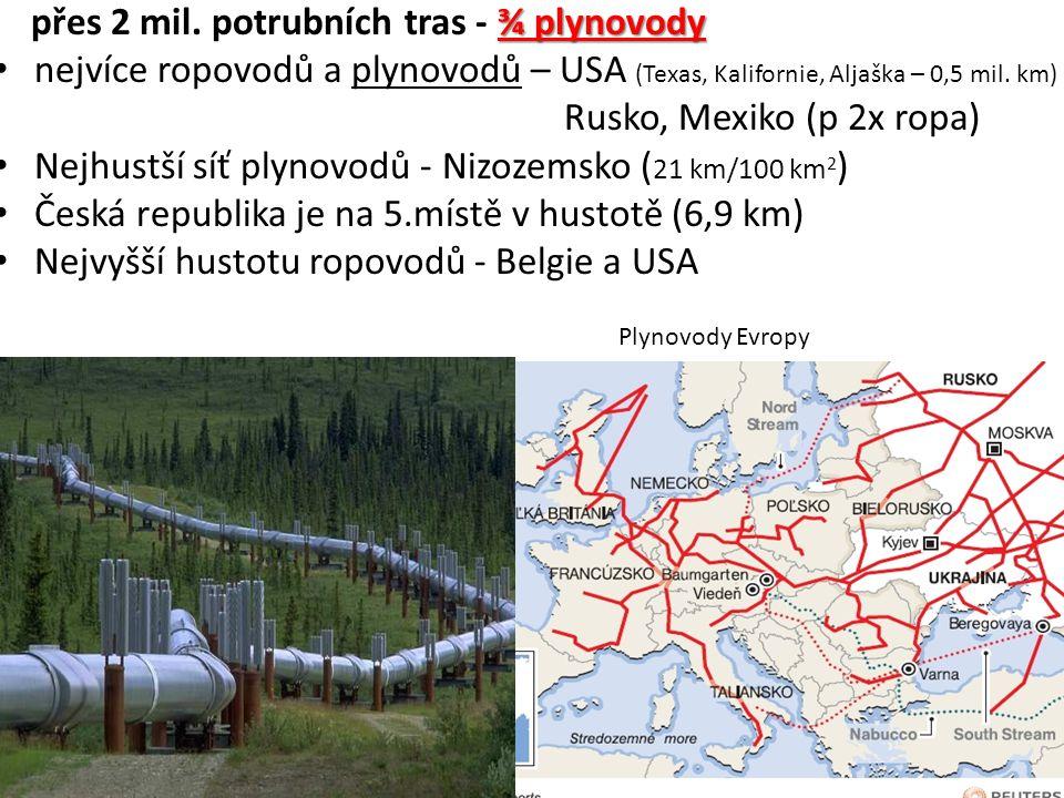 ¾ plynovody přes 2 mil. potrubních tras - ¾ plynovody nejvíce ropovodů a plynovodů – USA (Texas, Kalifornie, Aljaška – 0,5 mil. km) Rusko, Mexiko (p 2