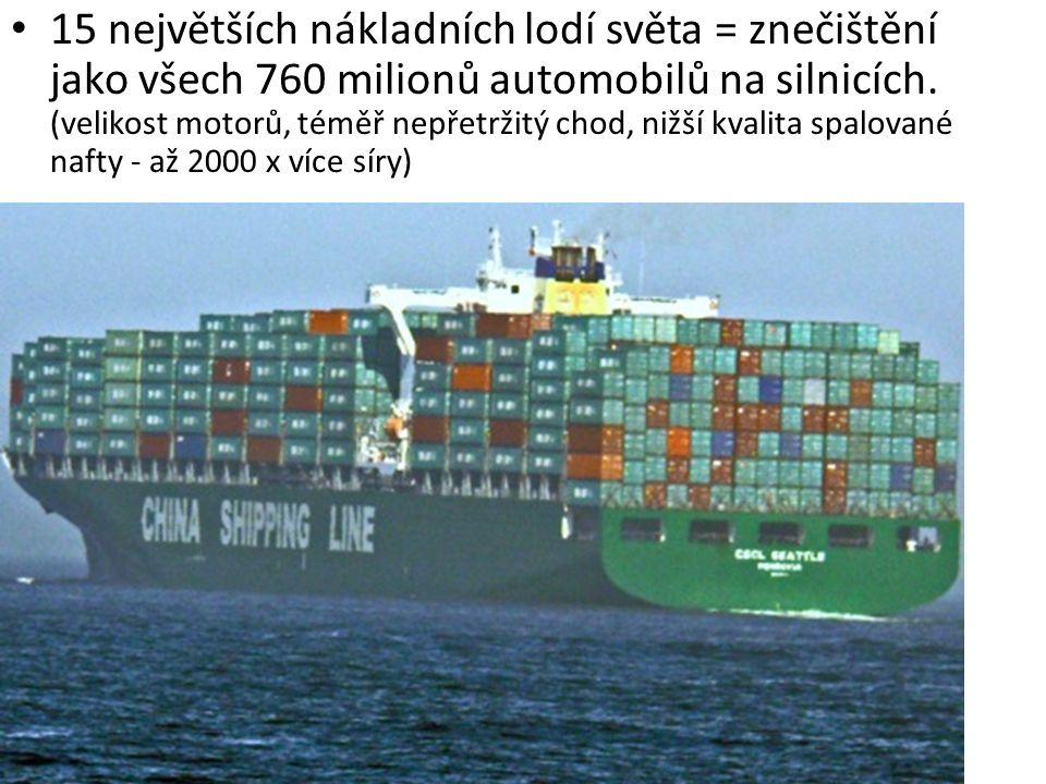15 největších nákladních lodí světa = znečištění jako všech 760 milionů automobilů na silnicích. (velikost motorů, téměř nepřetržitý chod, nižší kvali