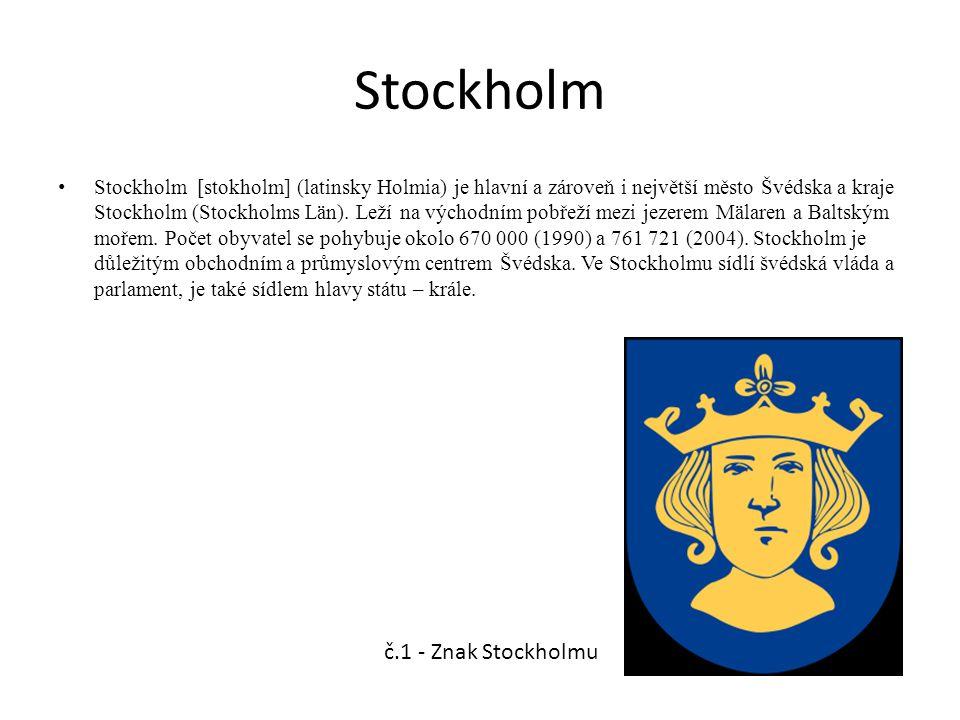 Stockholm Stockholm [stokholm] (latinsky Holmia) je hlavní a zároveň i největší město Švédska a kraje Stockholm (Stockholms Län). Leží na východním po