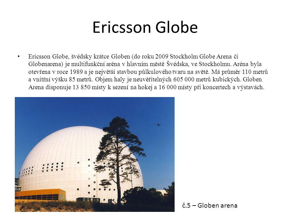 Ericsson Globe Ericsson Globe, švédsky krátce Globen (do roku 2009 Stockholm Globe Arena či Globenarena) je multifunkční aréna v hlavním městě Švédska