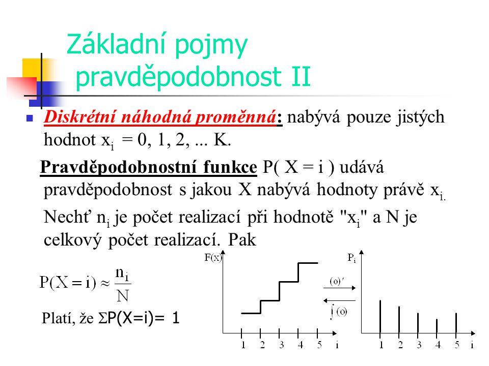 Základní pojmy pravděpodobnost II Diskrétní náhodná proměnná: nabývá pouze jistých hodnot x i = 0, 1, 2,... K. Pravděpodobnostní funkce P( X = i ) udá