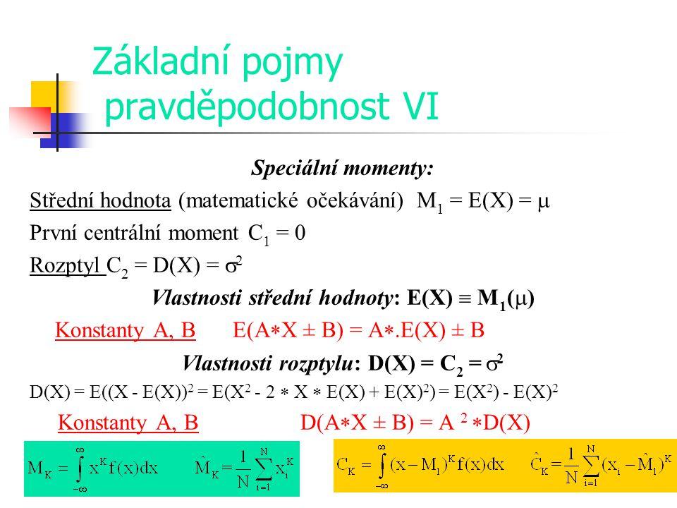 Základní pojmy pravděpodobnost VI Speciální momenty: Střední hodnota (matematické očekávání) M 1 = E(X) =  První centrální moment C 1 = 0 Rozptyl C 2