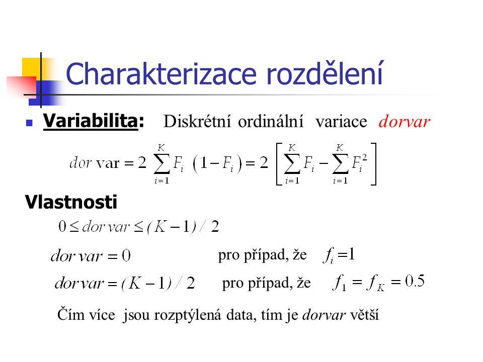 Charakterizace rozdělení Variabilita: Diskrétní ordinální variace dorvar Vlastnosti pro případ, že Čím více jsou rozptýlená data, tím je dorvar větší