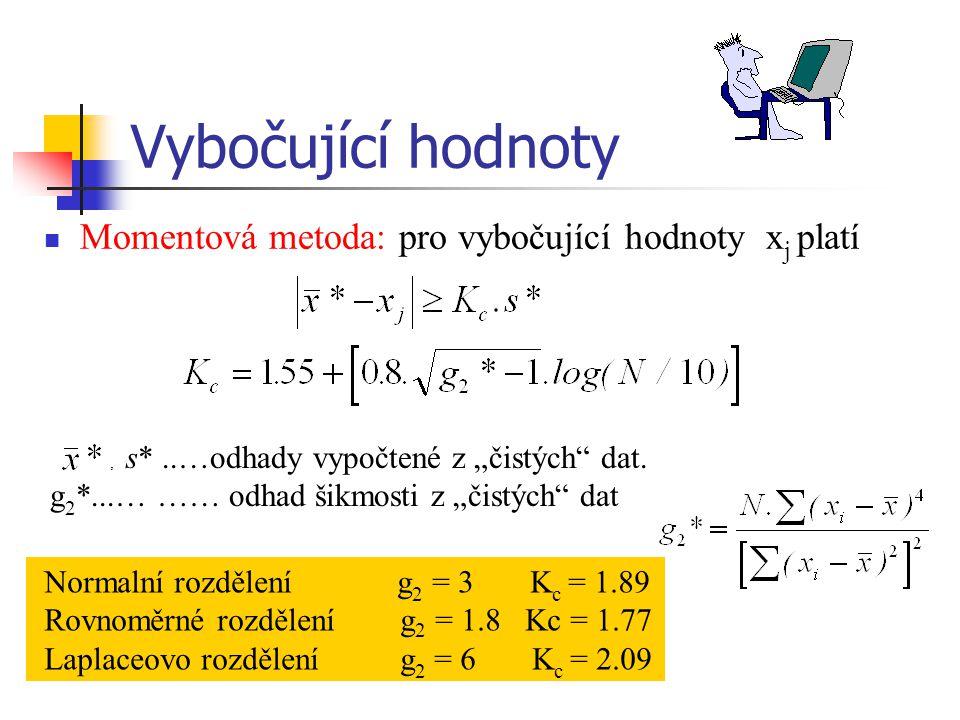 """Vybočující hodnoty Momentová metoda: pro vybočující hodnoty x j platí, s*..…odhady vypočtené z """"čistých"""" dat. g 2 *...… …… odhad šikmosti z """"čistých"""""""