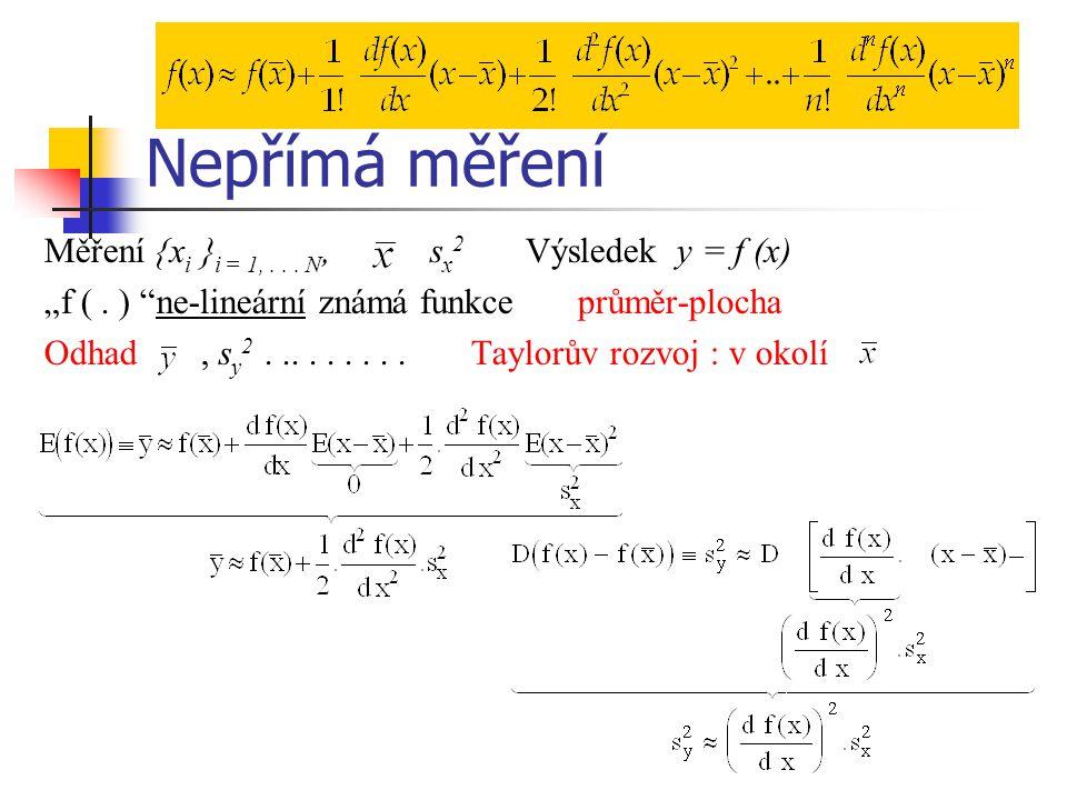 """Nepřímá měření Měření  x i  i = 1,... N, s x 2 Výsledek y = f (x) """"f (. ) """"ne-lineární známá funkce průměr-plocha Odhad, s y 2.........Taylorův rozv"""