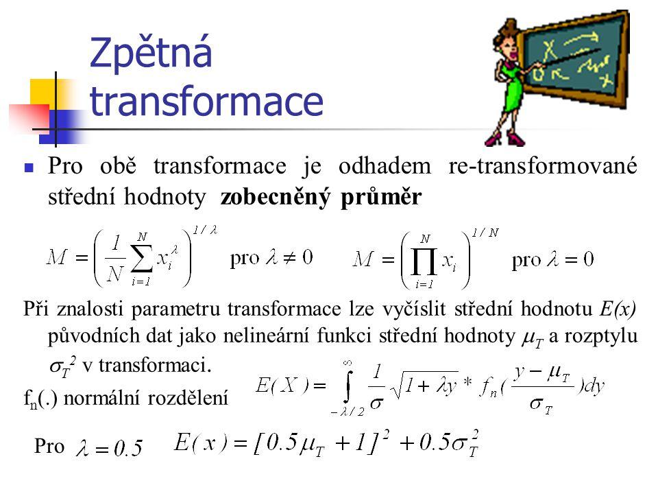 Zpětná transformace Pro obě transformace je odhadem re-transformované střední hodnoty zobecněný průměr Při znalosti parametru transformace lze vyčísli